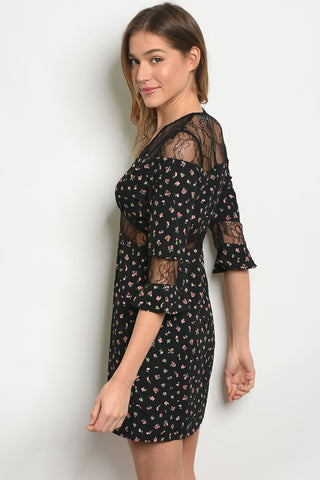 Womens Floral Black Dress