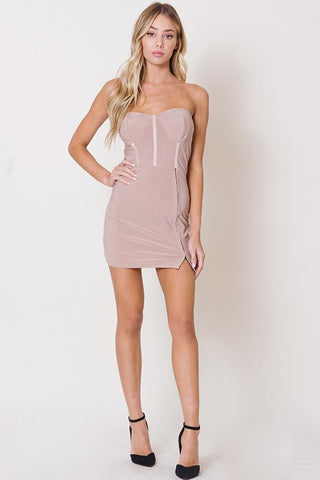 Strapless Mesh Hook and Eye Dress