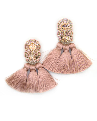 Earrings With Tassels in Nude Color
