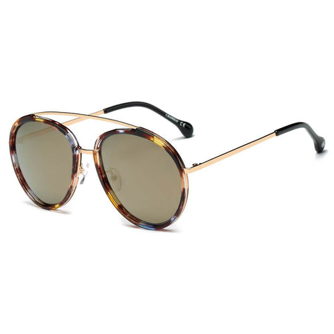 FARMINDALE | CA13 - Polarized Circle Round Brow-Bar Fashion Sunglasses