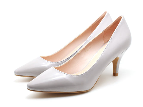 Patent Pointed Toe Pumps (Light Grey)