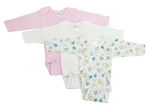 Bambini Girl's Long Sleeve Printed Onesie Variety Pack