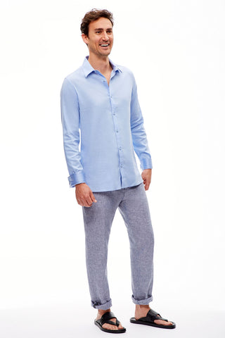 The Trotter Button Up  | Fitted | Big Sur Blue