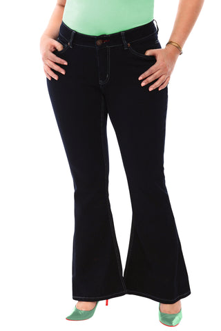 360 Stretch Mid-Rise 70's Inspired Flare Denim Jeans in Black Onyx