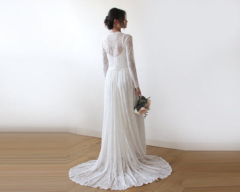 Ivory Lace Tulip Wrap, Long Sleeves Lace Dress, Wedding Dress With Train, Wedding Dress 1195
