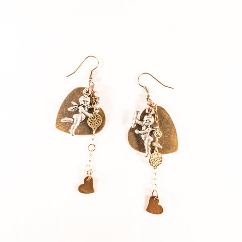 Beautiful Bronze Heart and Cherub Charms Earrings With 18kt Gold Plated Flower Chain.