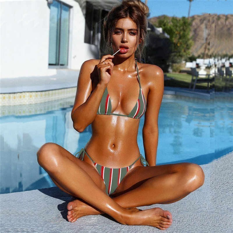 Women Stripe Print Brazilian Beachwear Swimsuit