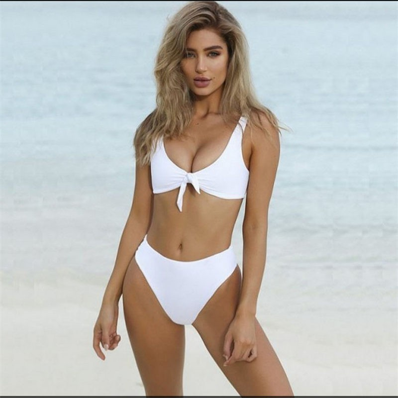 Sexy Women Brazilian Solid Button Swimwear