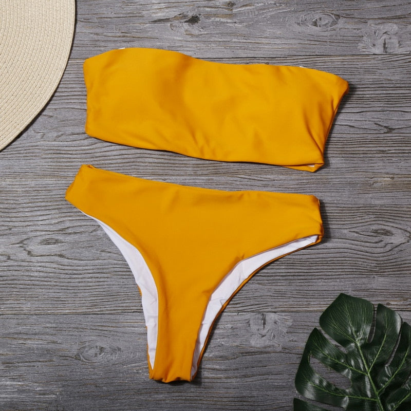Women Sexy Solid Tube Top Beachwear Bikini Set