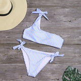 New One Shoulder Stripe Print Swimsuit Bikini