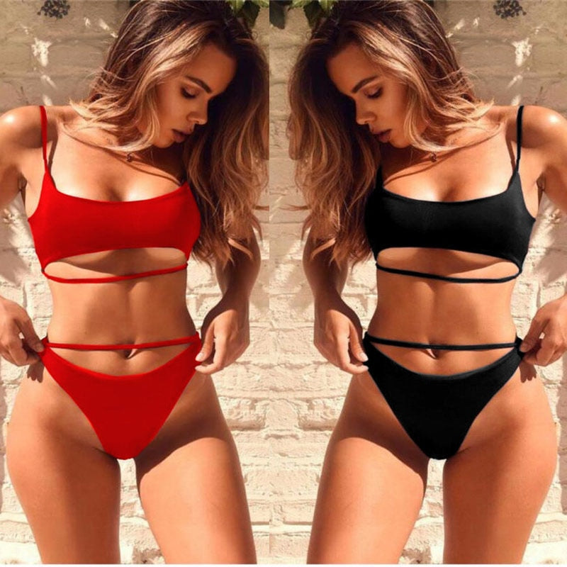 New Solid Bandage Hollow High Cut Padded Swimwear