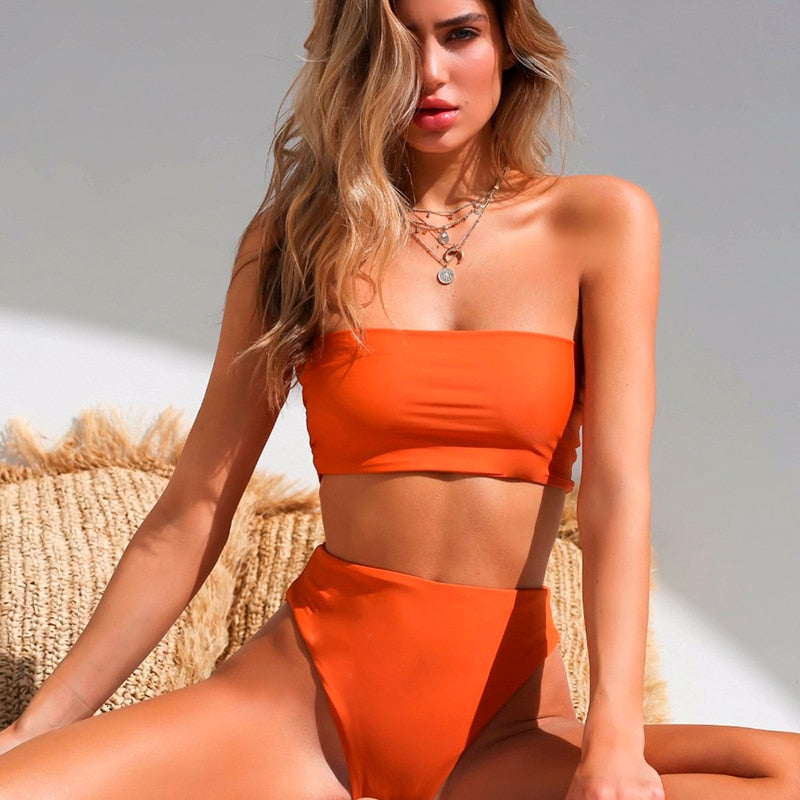 2020 Solid Sexy High Waist Summer Beachwear Bikini Set