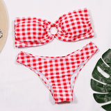 Latest Sexy Plaid Buckle Summer Bandage Bikini Set