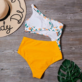 2020 Hot Women Sexy Print One Piece Hollow Swimsuit
