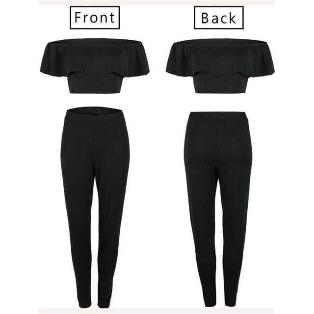 Women Yoga Tracksuit Fitness Outfit Ruffles Off Shoulder Crop Top Leggings