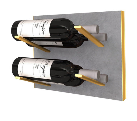 label-out wine rack - concrete & gold