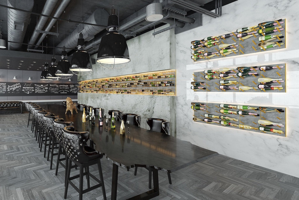 concrete & gold - champagne bar interior design