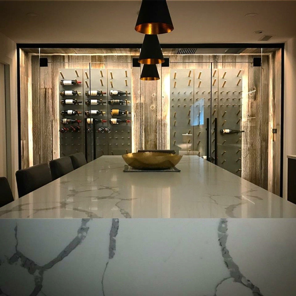 concrete glass marble and gold designer wine room