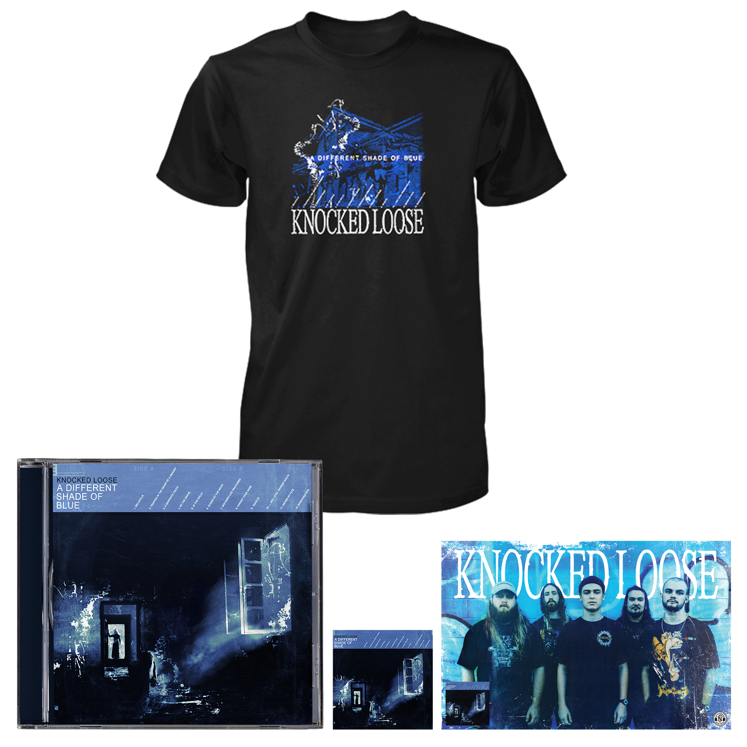 Knocked Loose 'A Different Shade of Blue' (CD + Shirt (black) + Poster + Sticker)