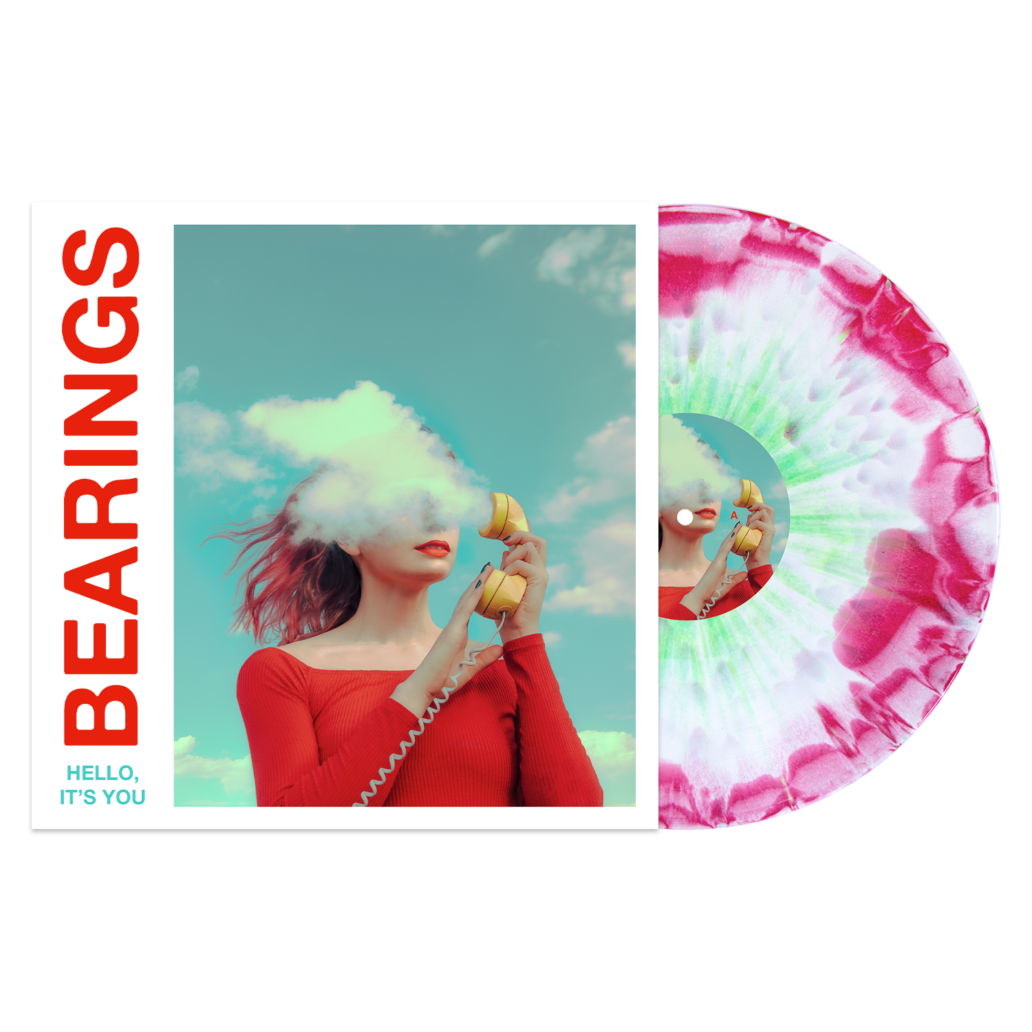 Bearings 'Hello, It's You' PN Exclusive 1 - White / Red(ish) aside/bside with heavy Doublemint splatter