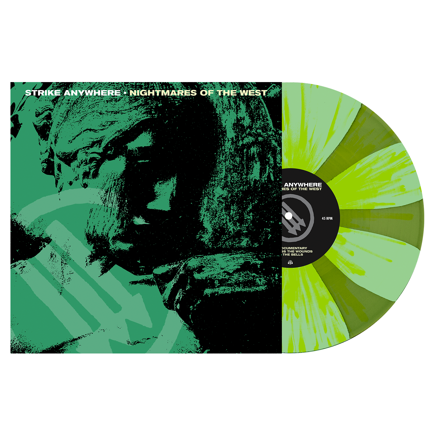 Strike Anywhere 'Nightmares of the West' LP (PN Webstore Exclusive 1 - Doublemint & Swamp Green Pinwheel w/ Heavy Neon Yellow Splatter)