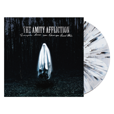 The Amity Affliction 'Everyone Loves You... Once You Leave Them' PN Exclusive 2 White & Clear Pinwheel w/ Heavy Black Splatter