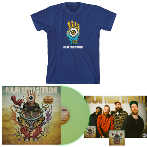 Four Year Strong 'Brain Pain' PN2 EX LP + Blue T-Shirt Bundle