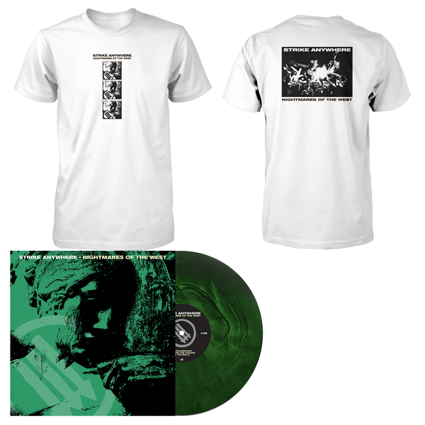 Strike Anywhere 'Nightmares of the West' LP (Various - Swamp Green and Doublemint Galaxy) + White T-Shirt Bundle