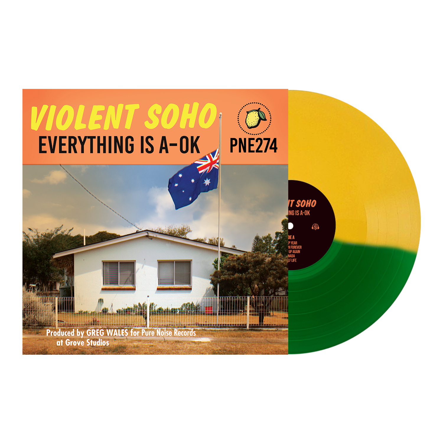 Violent Soho 'Everything is A-OK' Various 1 Half Kelly Green  /  Half Mustard