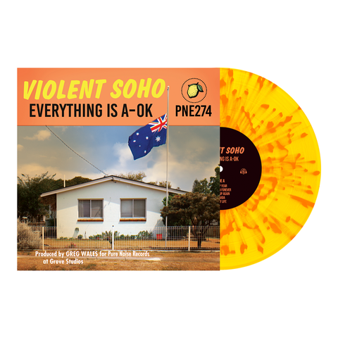 Violent Soho 'Everything is A-OK' Various 2 Highlighter Yellow w/ Heavy Halloween Orange Splatter