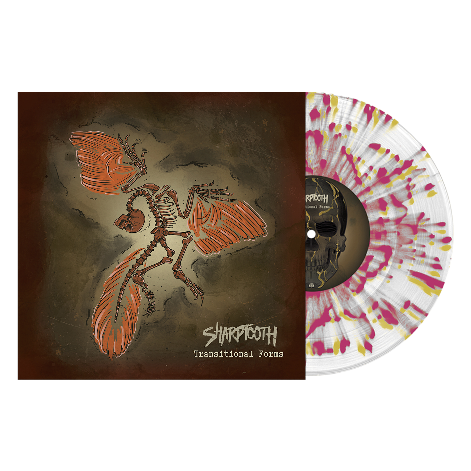 Sharptooth 'Transitional Forms' LP (Various 2 - Clear w/ heavy Oxblood and Gold splatter)