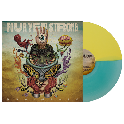 Four Year Strong 'Brain Pain' Various Half Easter Yellow / Half Electric Blue