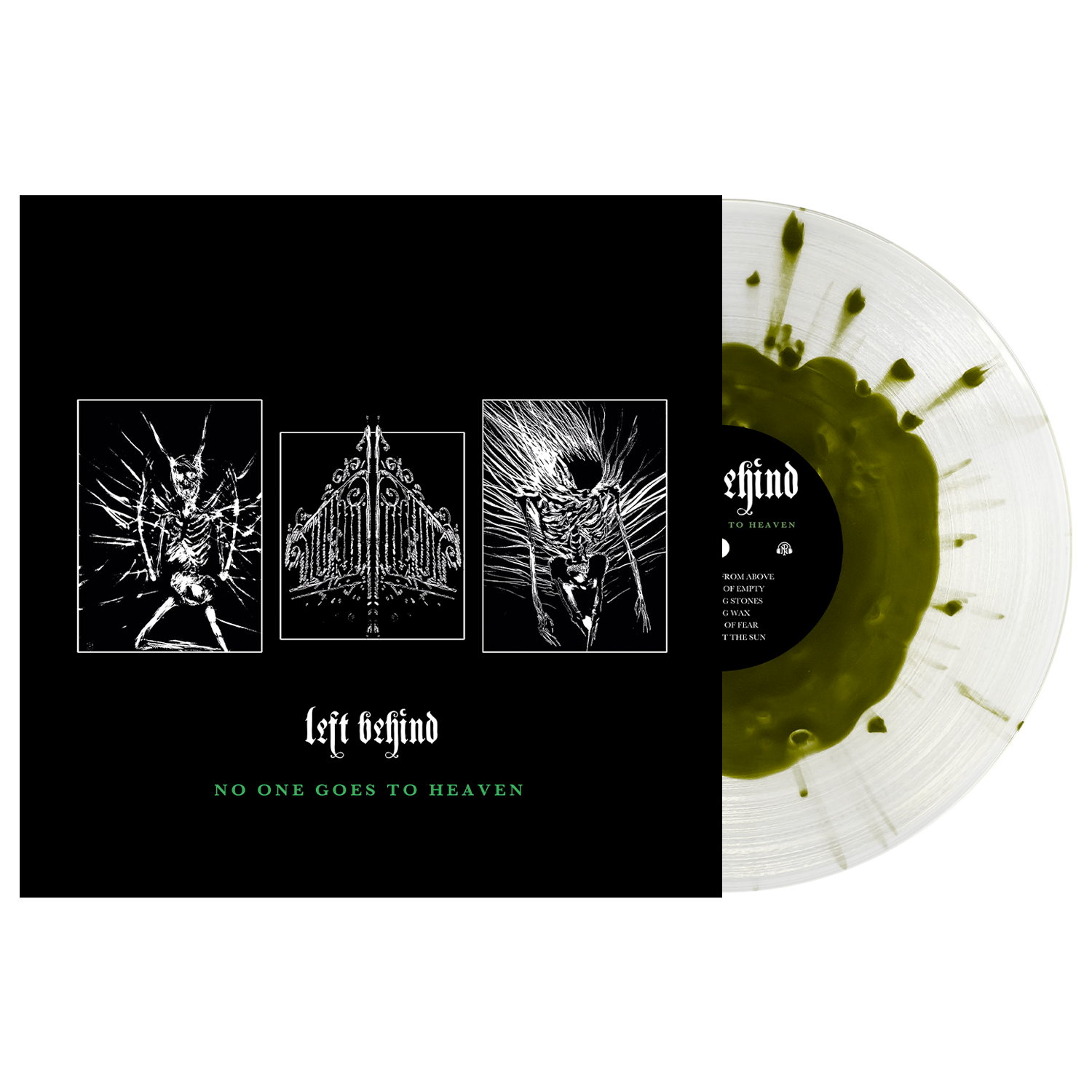 Left Behind 'No One Goes To Heaven' LP Various (Swamp Green in Clear w/ Heavy Swamp Green Splatter)
