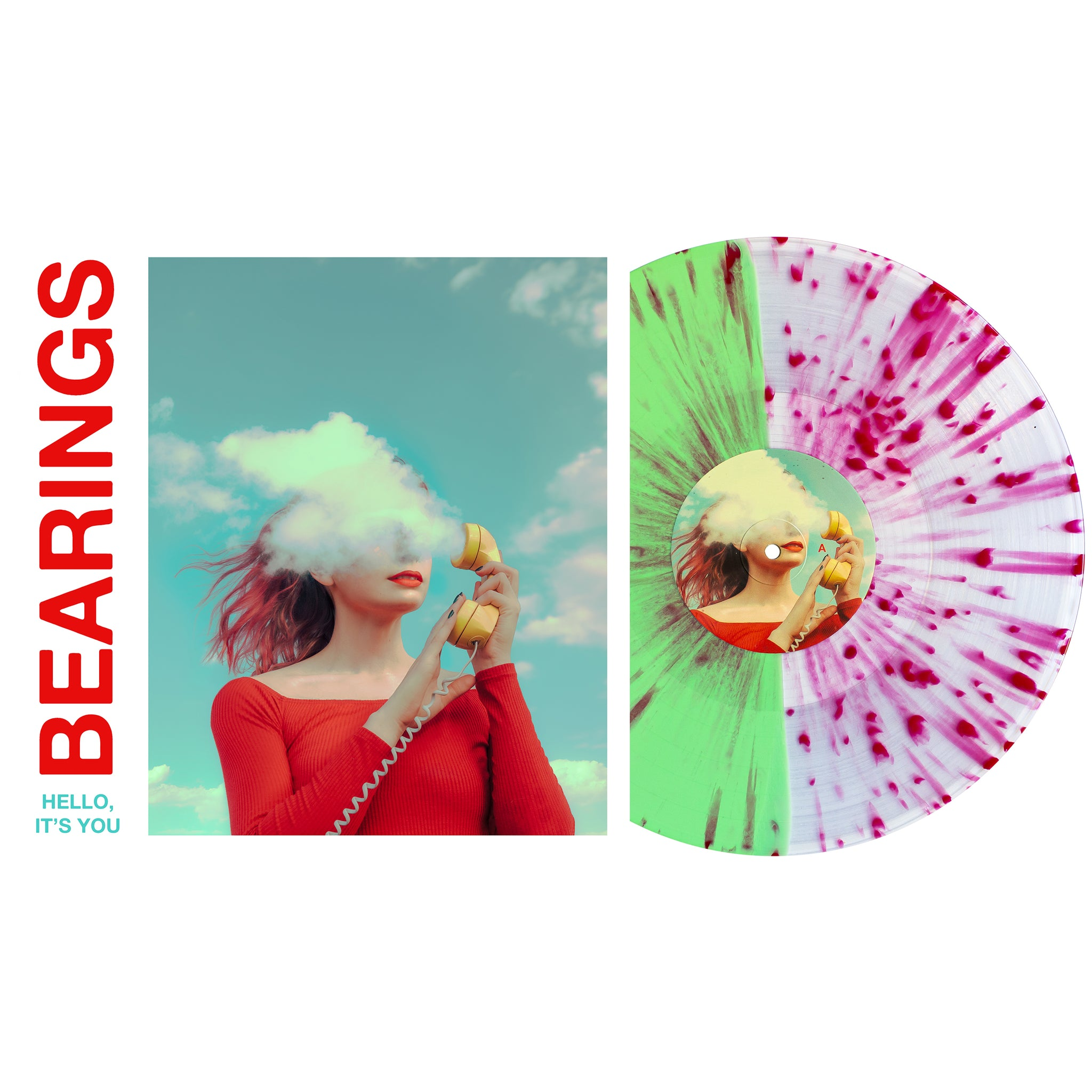 Bearings 'Hello, It's You' Various - Half Ultra clear / half mint w/ heavy Red(ish) splatter