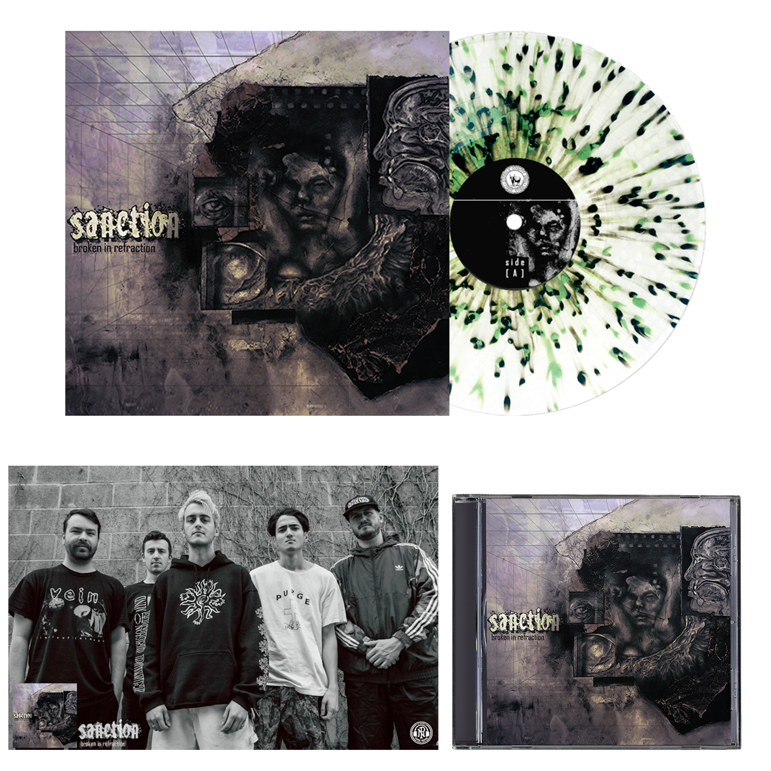 Sanction 'Broken In Refraction' CD + LP Various - Ultra Clear with Heavy Olive Green and Black splatter