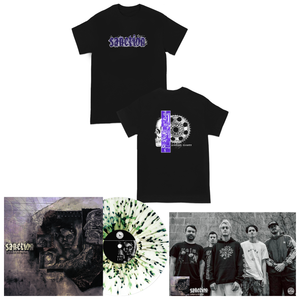 Sanction 'Broken In Refraction' LP Various - Ultra Clear with Heavy Olive Green and Black splatter + Shirt + Poster
