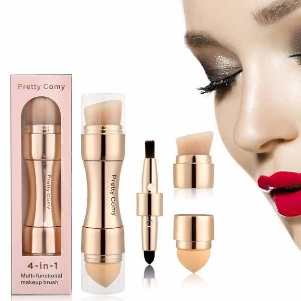 4 In 1 Makeup Brushes (For Foundation, Eyebrow Shadow, Eyeliner, Powder ) - Dealniche