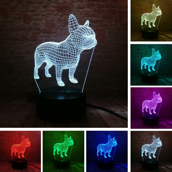3D Illusion French Bulldog Lamp - Dealniche