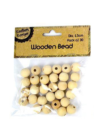 Wooden Bead Set - 1.5cm - Pack of 30