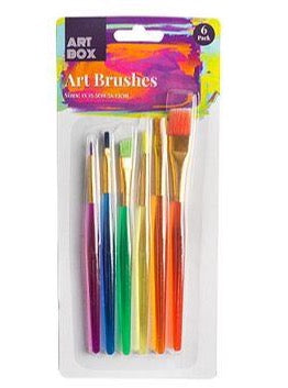 Transparent Handle Art Brushes - Set of 6 - Assorted Sizes and Colours