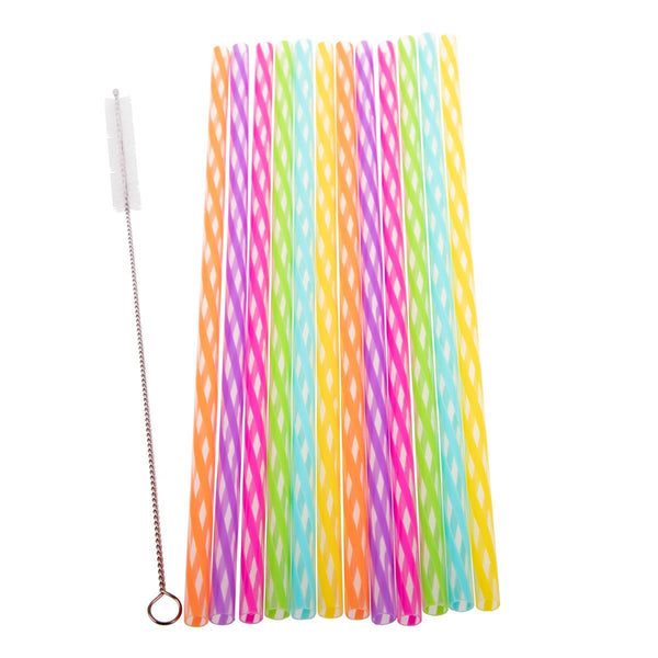 Avanti Reusable Plastic Rainbow Straws With Cleaning Brush 25cm - Set of 24