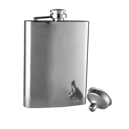 Avanti Hip Flask With Funnel 236ml - Polished Stainless Steel
