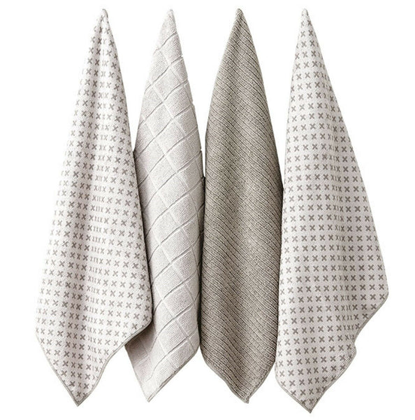 Ladelle Leo Microfibre Kitchen Towel Taupe Pack of 4