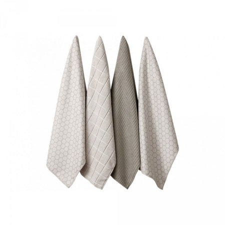 Ladelle Micofibre Honeycomb Tea Towel Set of 4 Taupe