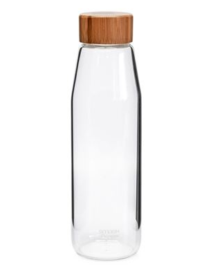 Smash & Pepper Glass Water Bottle With Bamboo Lid - 500ml