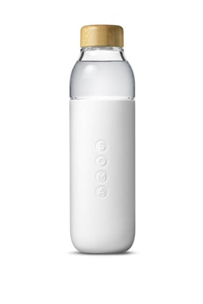 Glass Water Bottle Soma - White 470ml