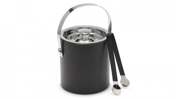 Salt & Pepper Bond Ice Bucket with Tongs - Black