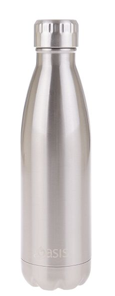Oasis Stainless Steel Double Wall Insulated Drink Bottle - 500ml Silver