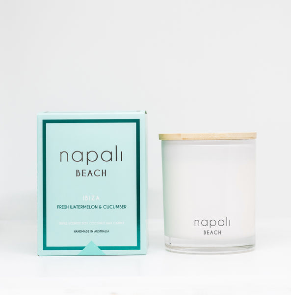 Napali Beach Ibiza, Fresh Watermelon & Cucumber Candle - Small