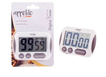 Appetito Digital Timer With Large LCD Display - 100 Minutes - White